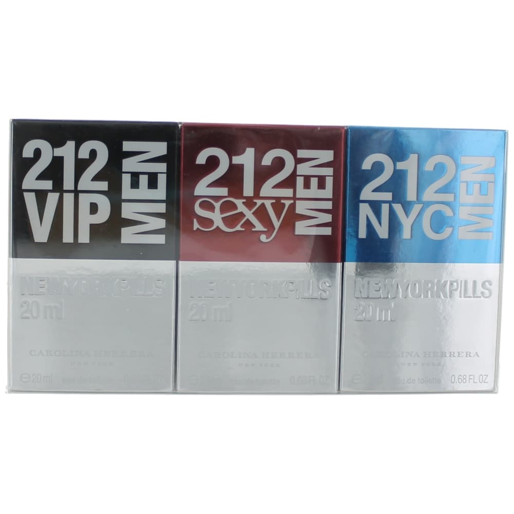212 by Carolina Herrera, 3 Piece Pill Gift Set for Men .68oz EDT Spray
