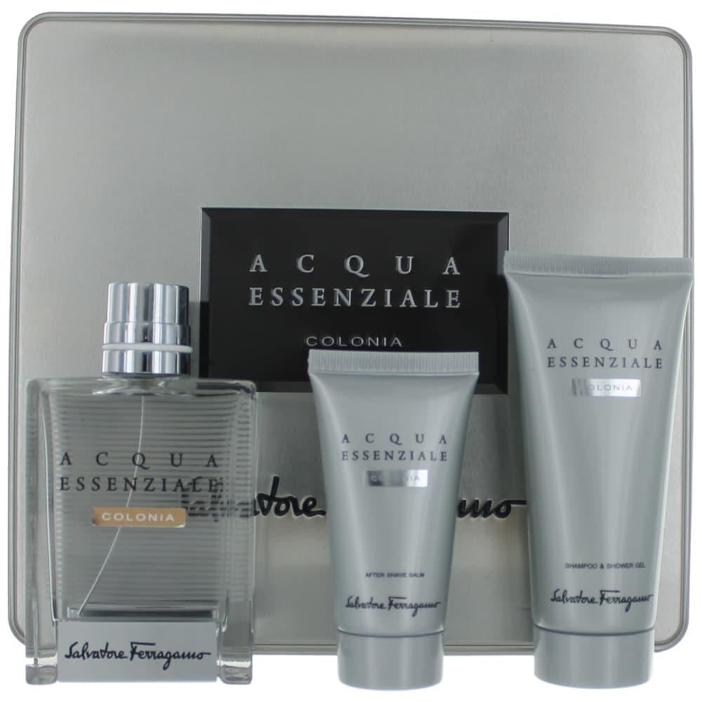 Acqua Essenziale Colonia by Salvatore Ferragamo, 3 Piece Gift Set for Men in Metal Box amgaecsf3
