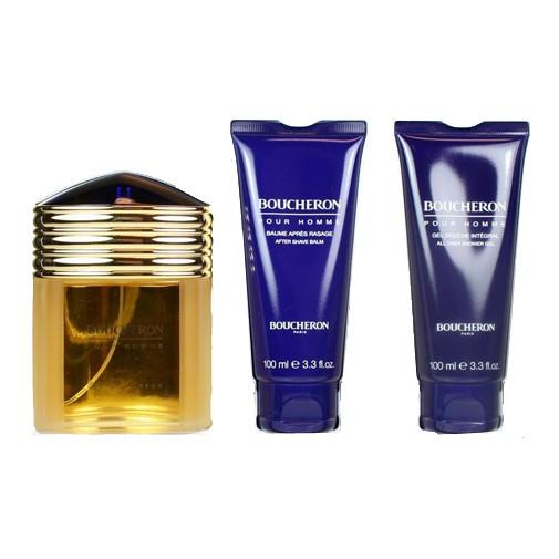 Boucheron Pour Homme by Boucheron, 3 Piece Gift Set for Men 3.3oz EDP Spray Aftershave Shower Gel