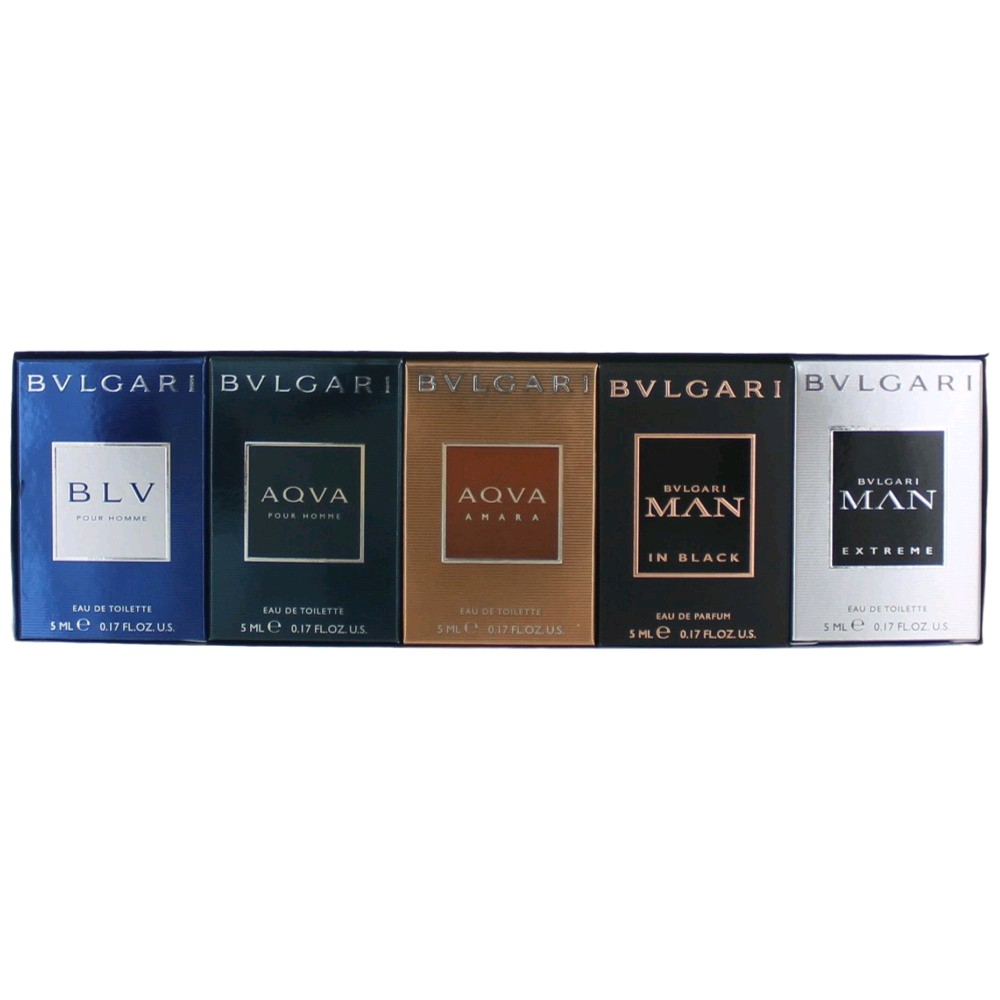 Bvlgari by Bvlgari, 5 Piece Mini Men's Gift Collection .17oz EDP EDT