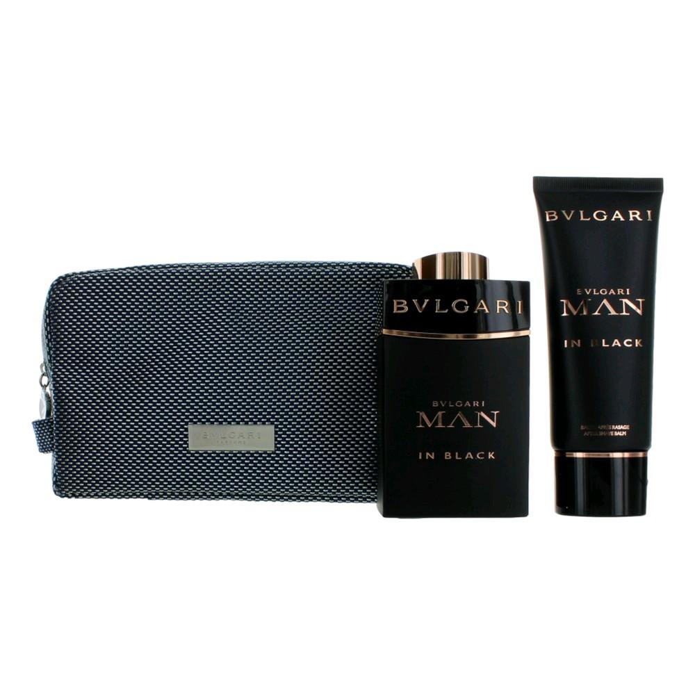 Bvlgari Man In Black by Bvlgari, 3 Piece Gift Set for Men