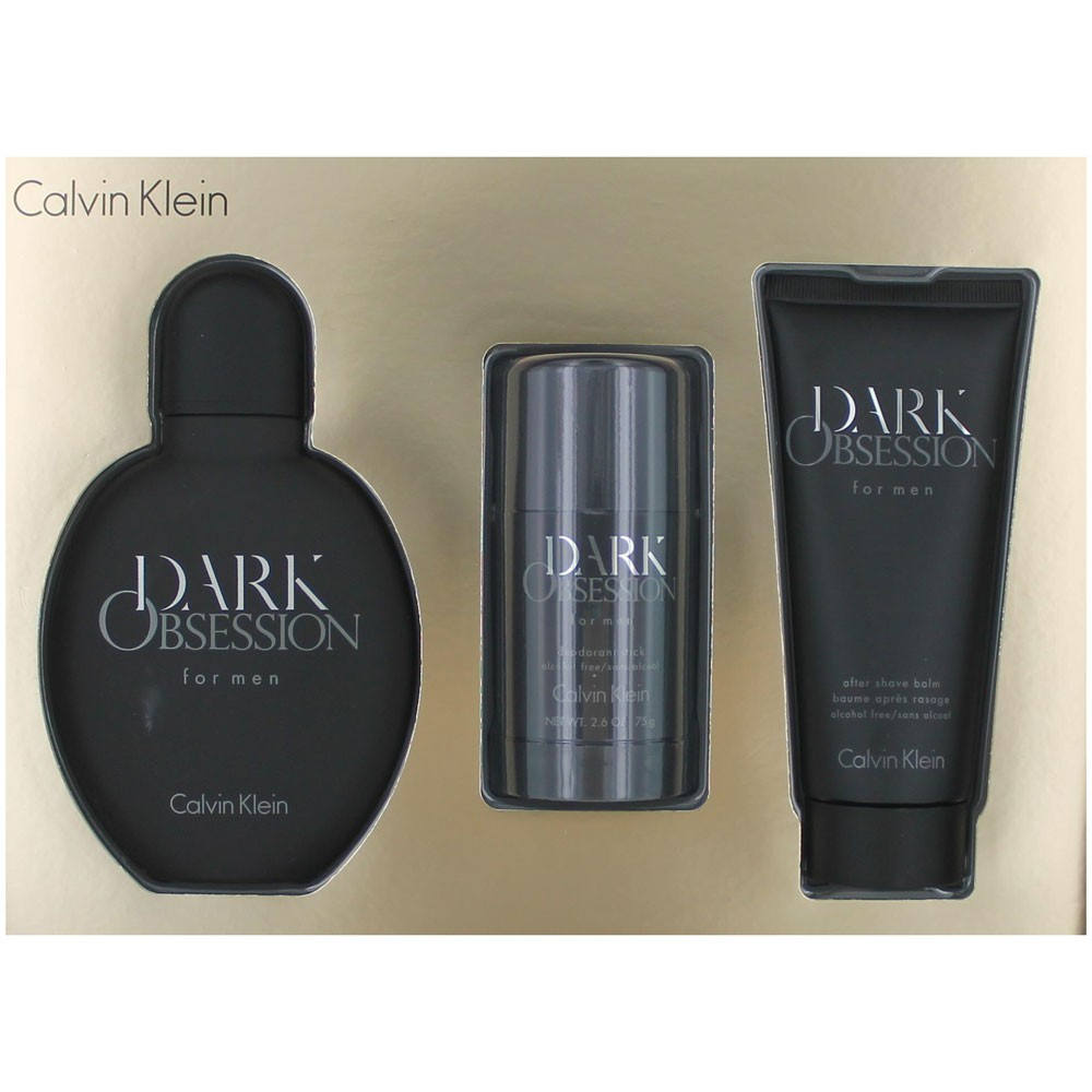 Dark Obsession by Calvin Klein, 3 Piece Gift Set for Men 4oz EDT Spray Aftershave Deodorant