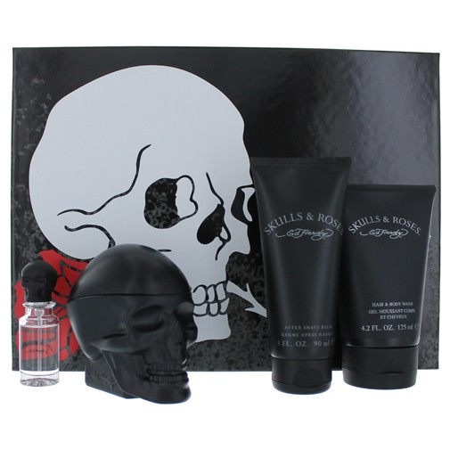 Ed Hardy Skulls and Roses by Christian Audigier, 4 Piece Gift Set for Men
