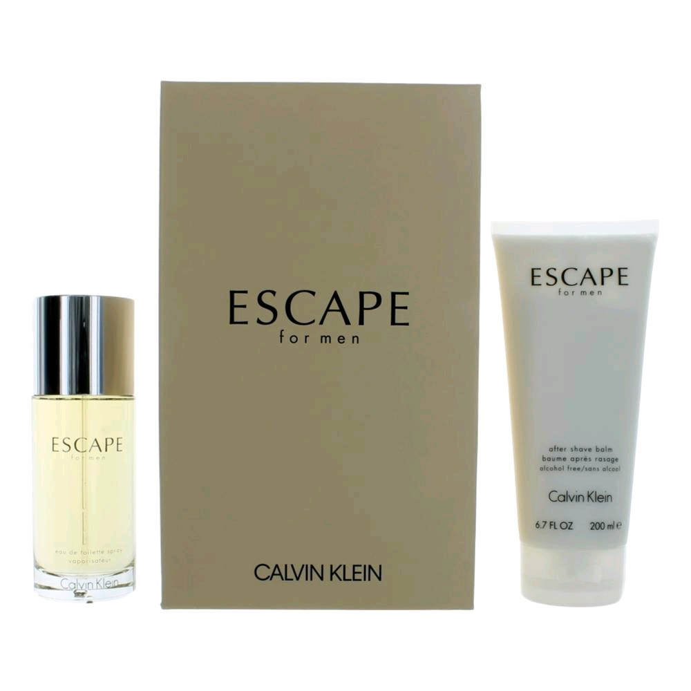 Escape by Calvin Klein, 2 Piece Gift Set for Men 3.4oz EDT Spray Aftershave