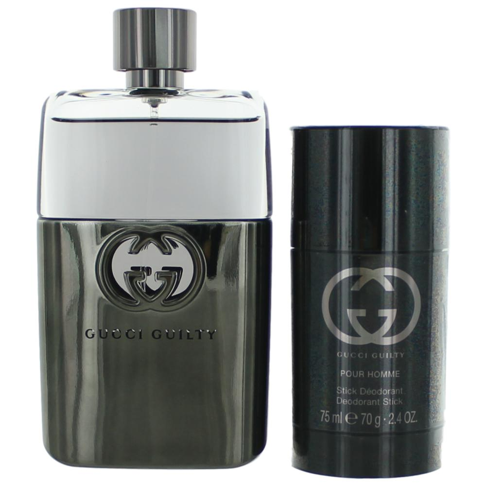 Gucci Guilty by Gucci, 2 Piece Gift Set for Men 3oz EDT Spray Deodorant Stick