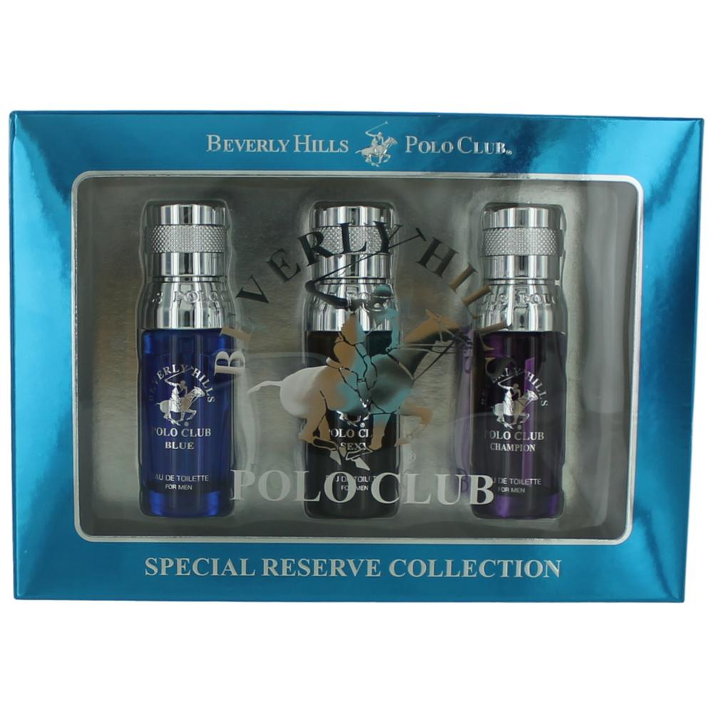 BHPC Special Reserve Collection by Beverly Hills Polo Club, 3 Piece Mini Set for Men (Blue, Sexy & Champion)