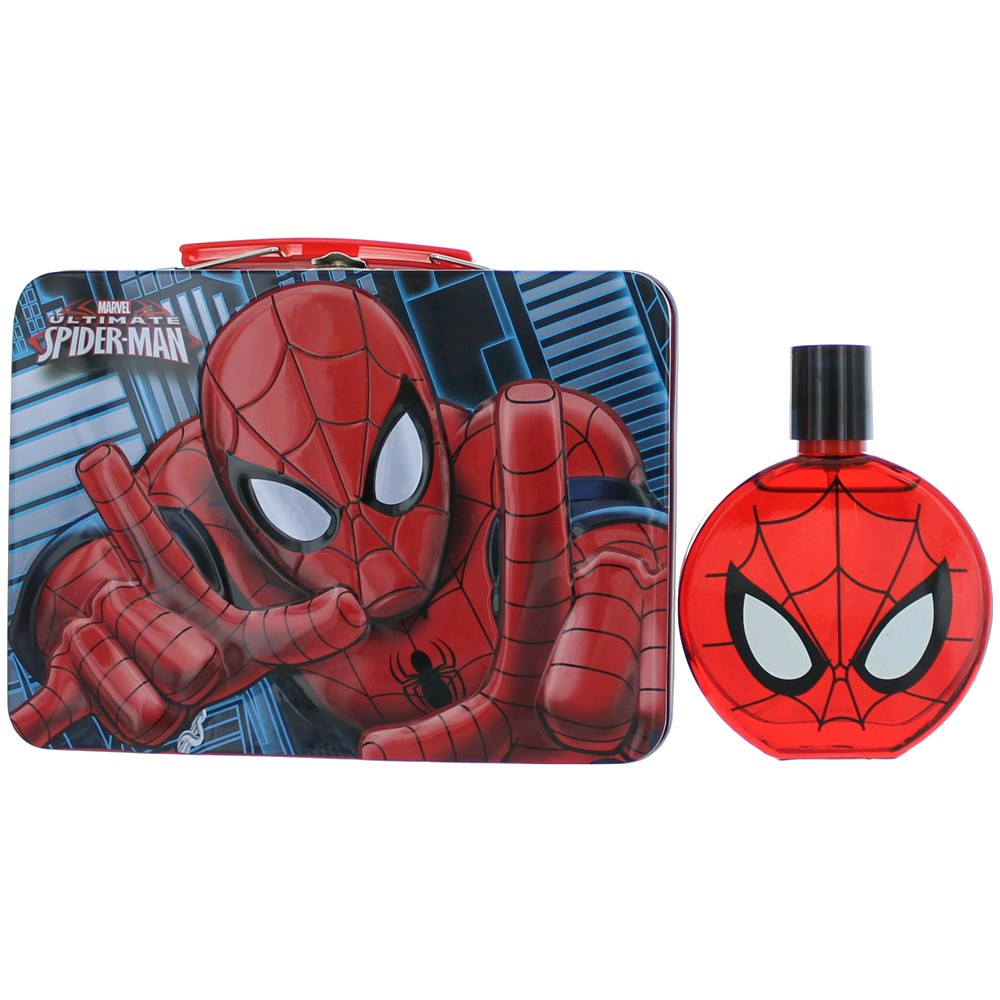 Ultimate Spiderman by Marmol & Son, 3.4 oz Eau De Toilette Spray for Boys with Metal Lunch Box amgspdr2