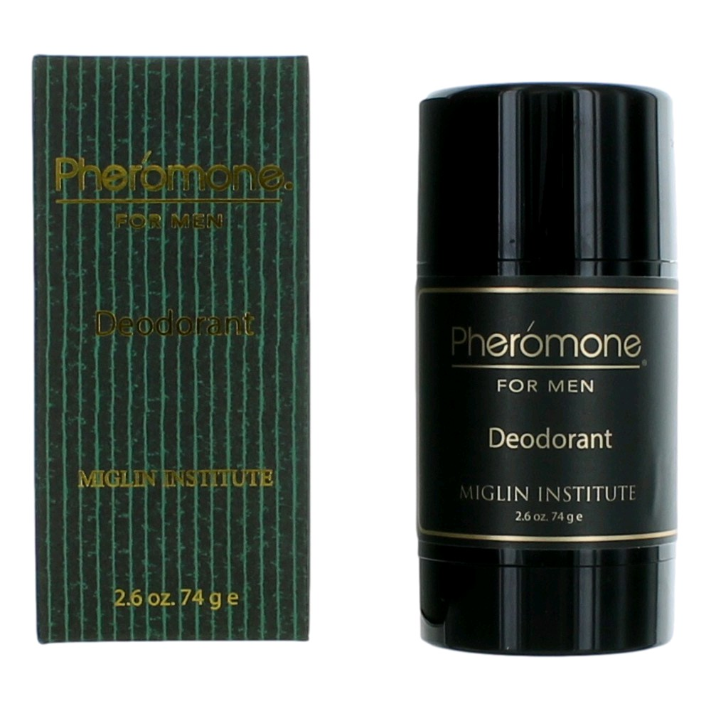 Launched by the design house of Marilyn Miglin in 1980. Pheromone for Men by Marilyn Miglin is a Oriental fragrance for men. The fragrance features citruses, green notes, honey, labdanum, olibanum, tonka bean, bergamot and sandalwood. Pheromone for Men deodorant provides the ultimate masculine protection combined with the rich, sophisticated aura of Pheromone for Men.