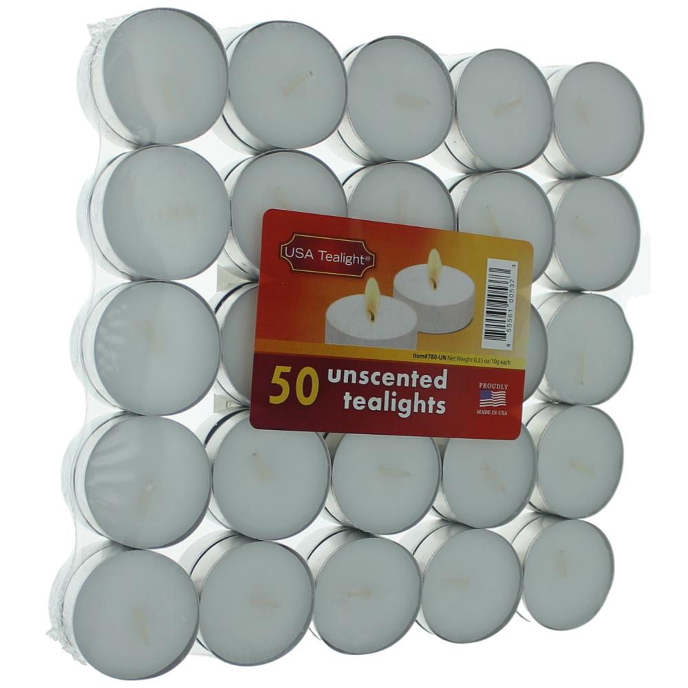 Unscented White Tealights Candles by USA Tealights, 50 Pack