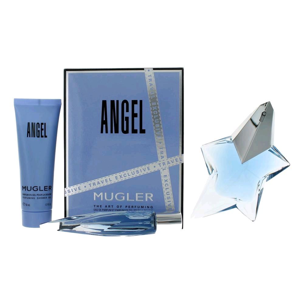 Angel by Thierry Mugler, 3 Piece Gift Set for Women 1.7oz EDP Spray Shower Gel