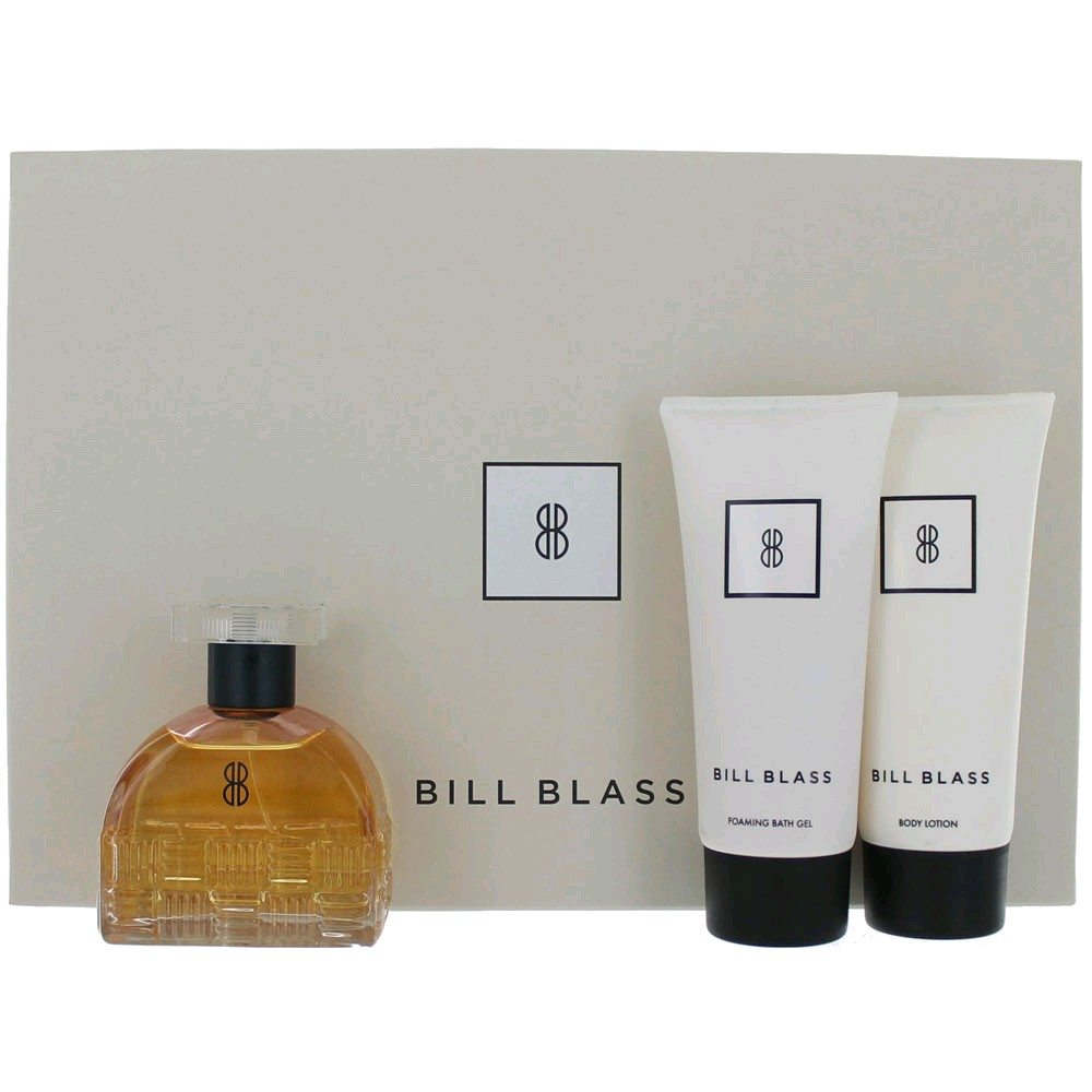 Bill Blass New by Bill Blass, 3 Piece Gift Set for Women 2.7oz EDP Spray Body Lotion Shower Gel