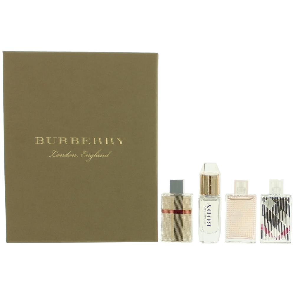 Burberry by Burberry, 4 Piece Variety Mini Gift Set for Women .17oz EDP EDT