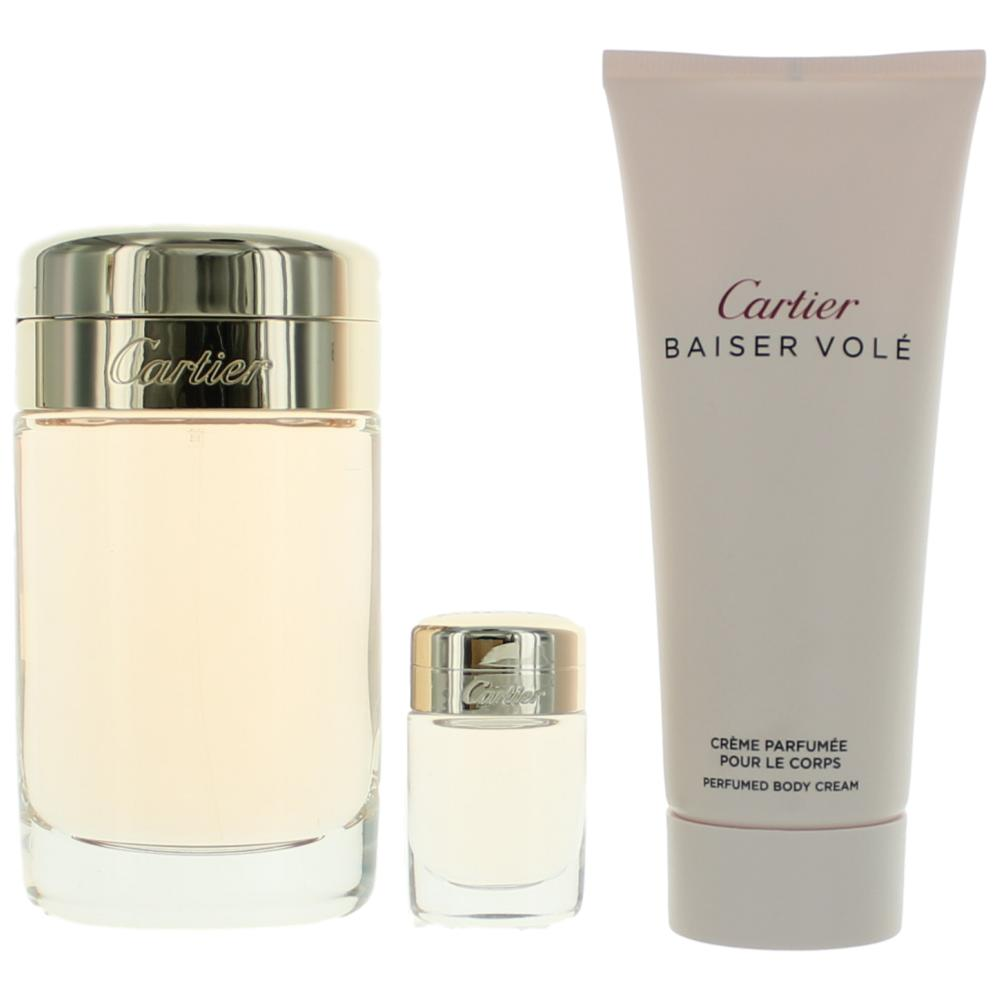 Baiser Vole by Cartier, 3 Piece Gift Set for Women 3.3oz EDP Spray Body Cream