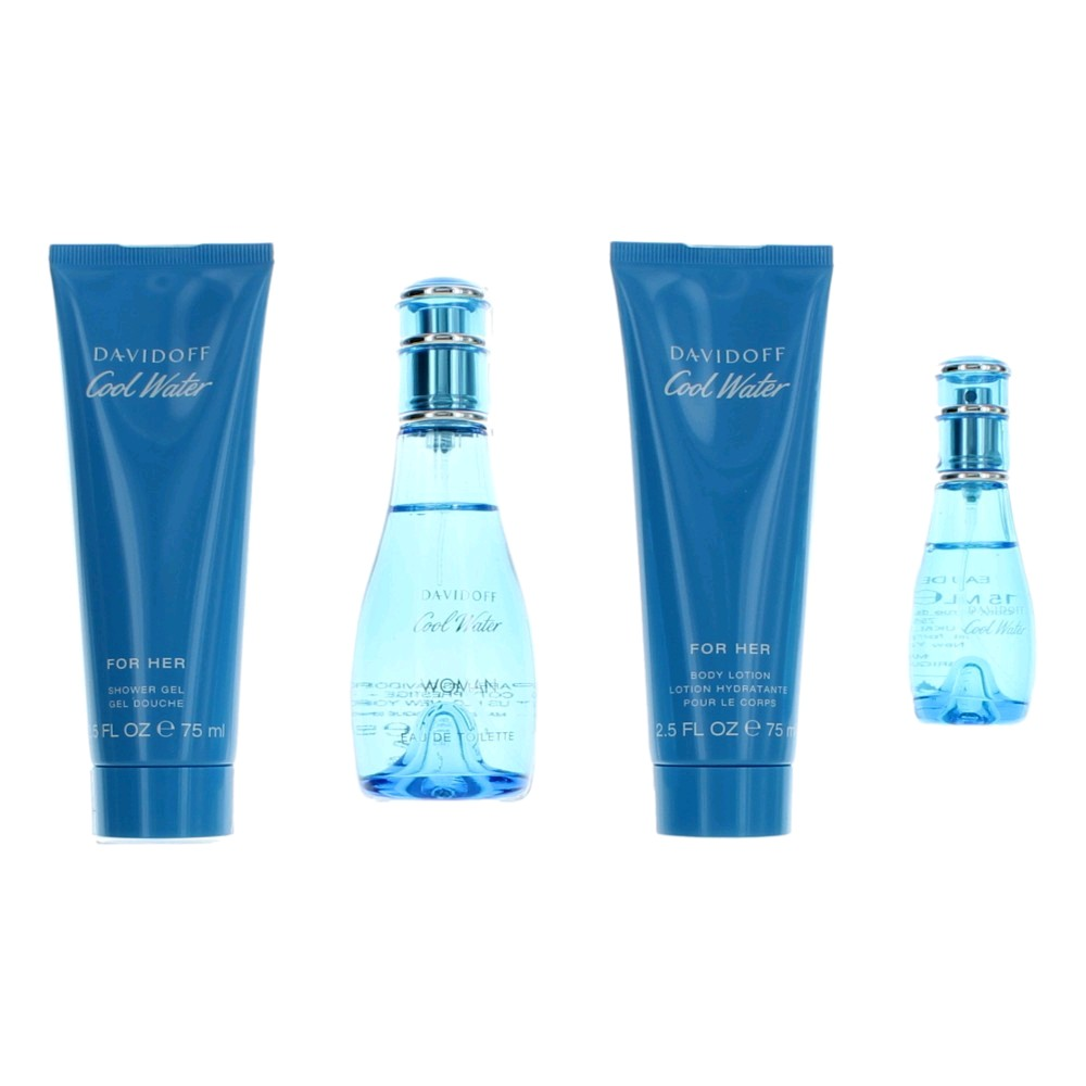 Cool Water by Davidoff, 4 Piece Gift Set for Women 1.7oz EDT Spray Body Lotion Shower Gel