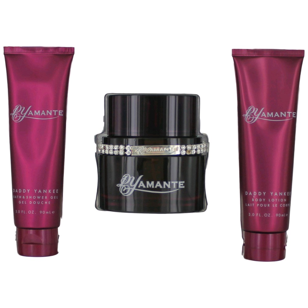 DYamante by Daddy Yankee, 3 Piece Gift Set for Women 3.4oz EDP Spray Body Lotion Shower Gel