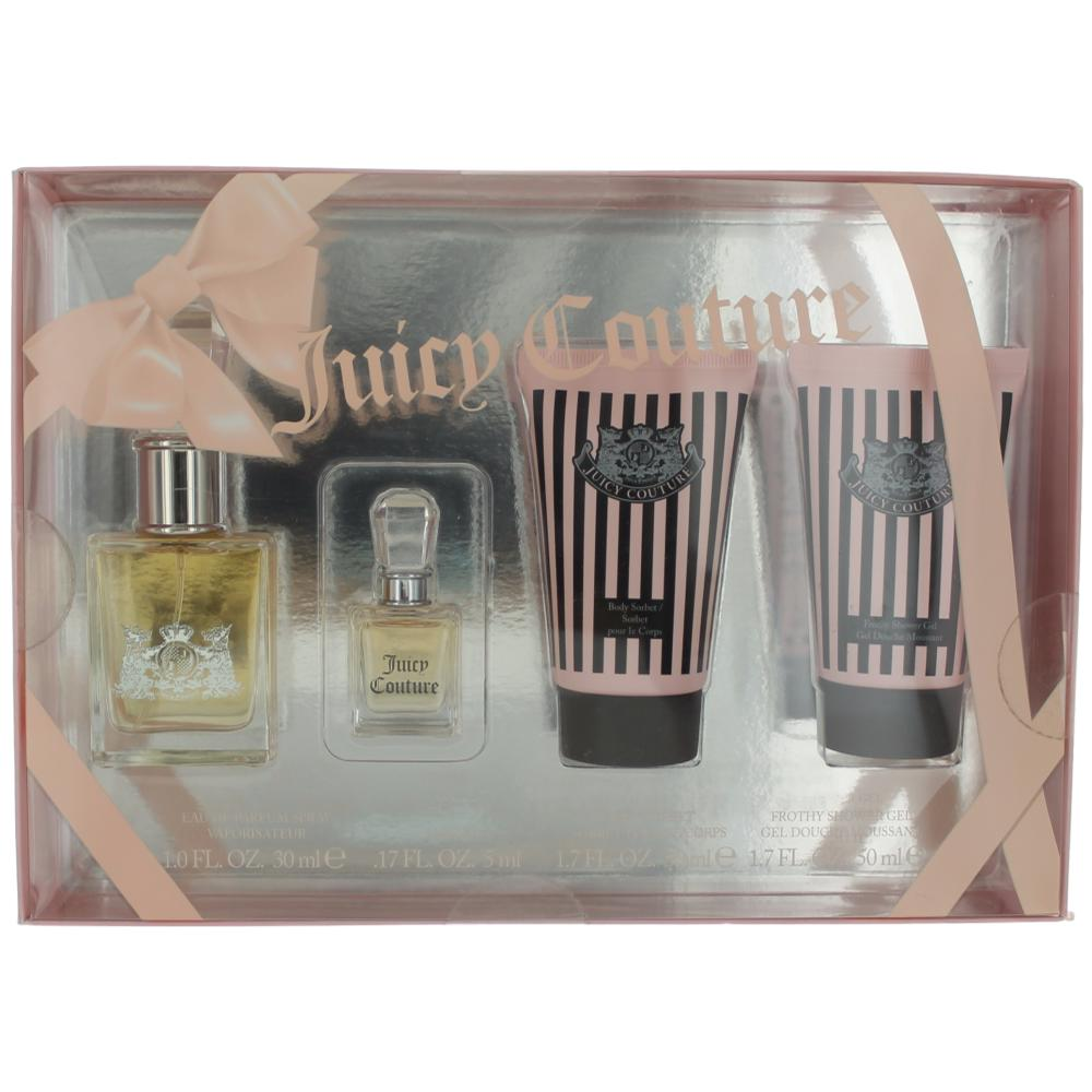 Juicy Couture by Juicy Couture, 4 Piece Gift Set for Women 1oz Parfum EDP Spray Shower Gel