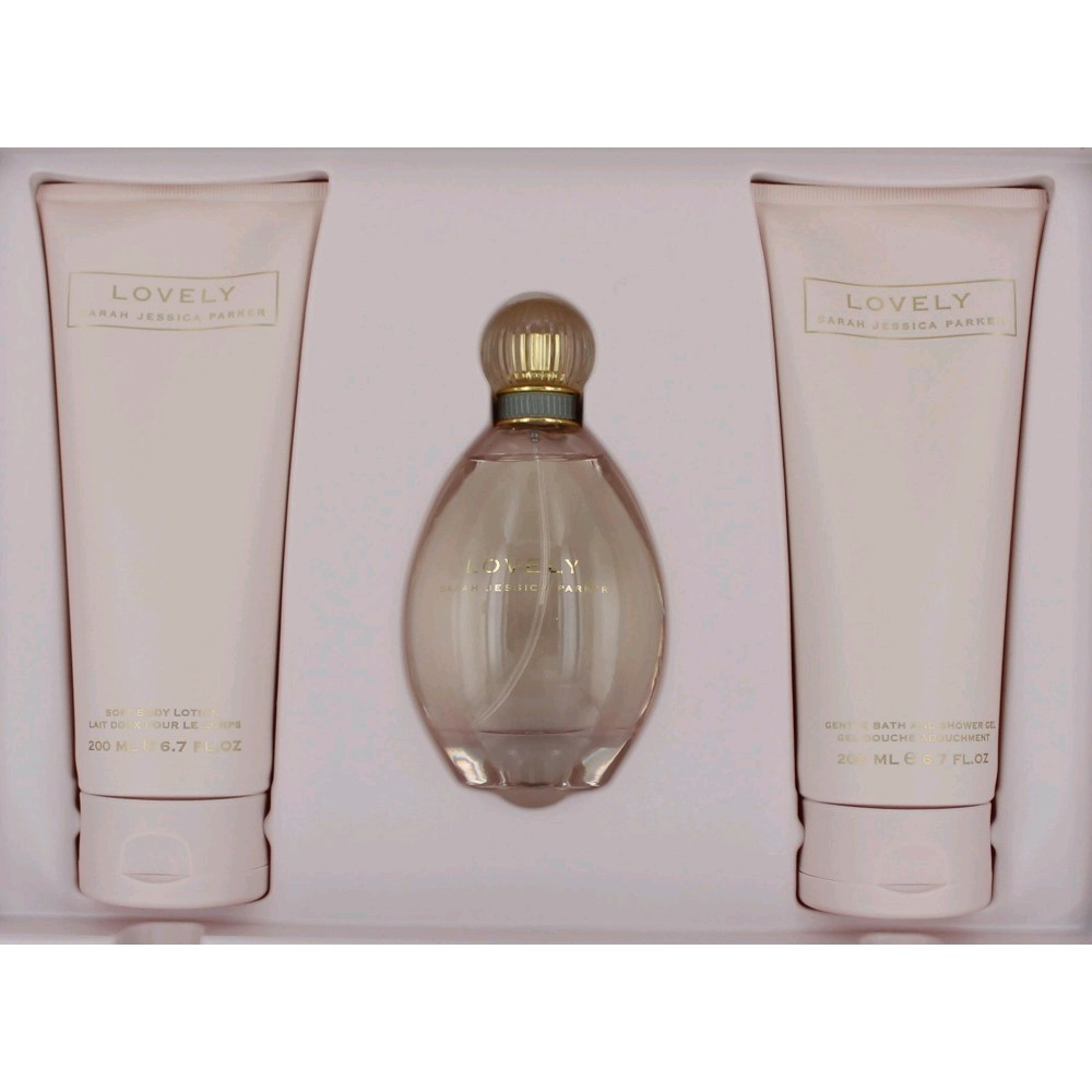 Lovely by Sarah Jessica Parker, 3 Piece Gift Set for Women 3.4oz EDP Spray Body Lotion Shower Gel