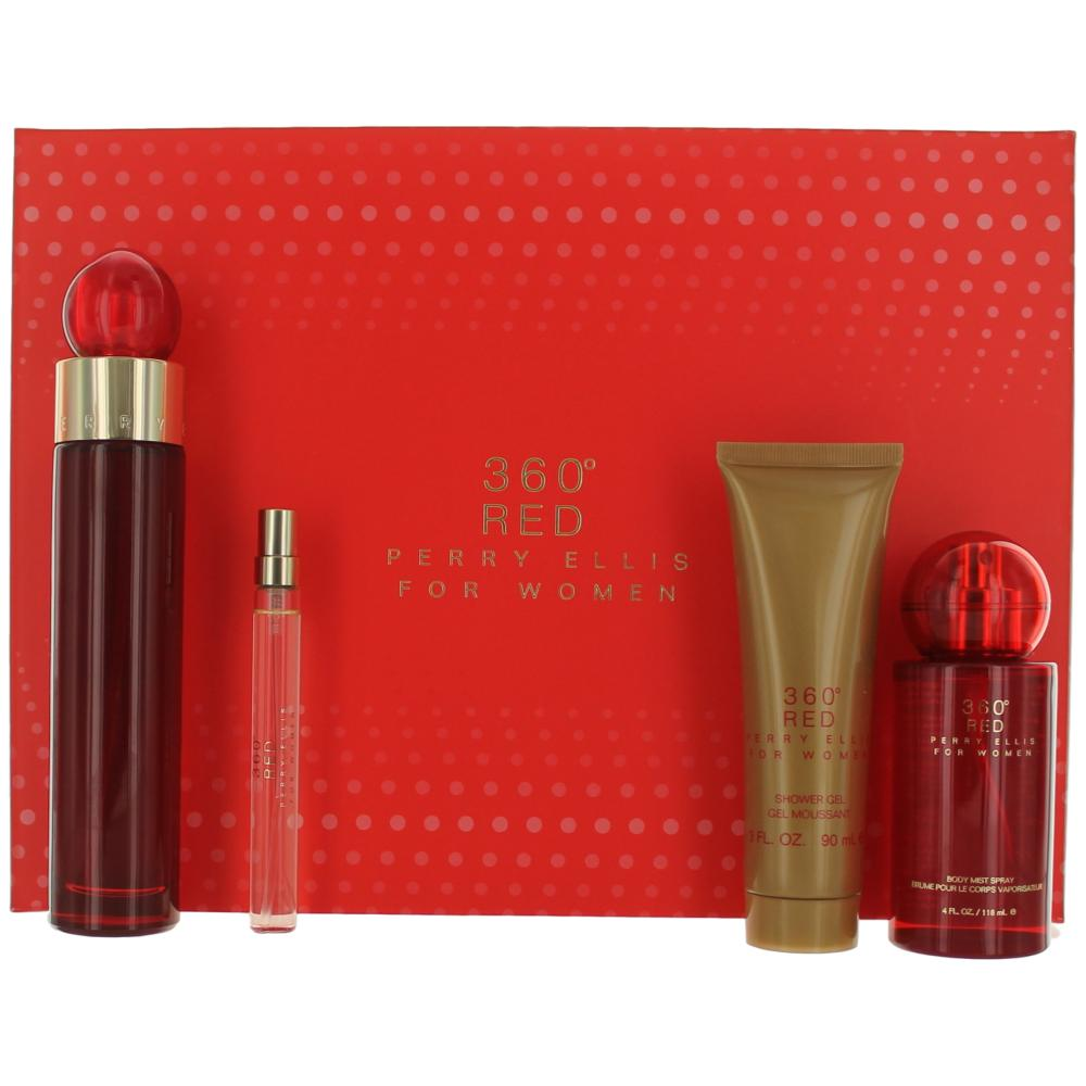 Perry Ellis 360 Red by Perry Ellis, 4 Piece Gift Set for Women awgp360r