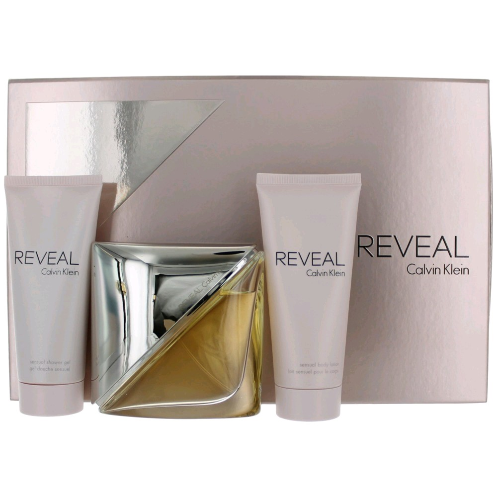 Reveal by Calvin Klein, 3 Piece Gift Set for Women 3.4oz EDP Body Lotion Shower Gel