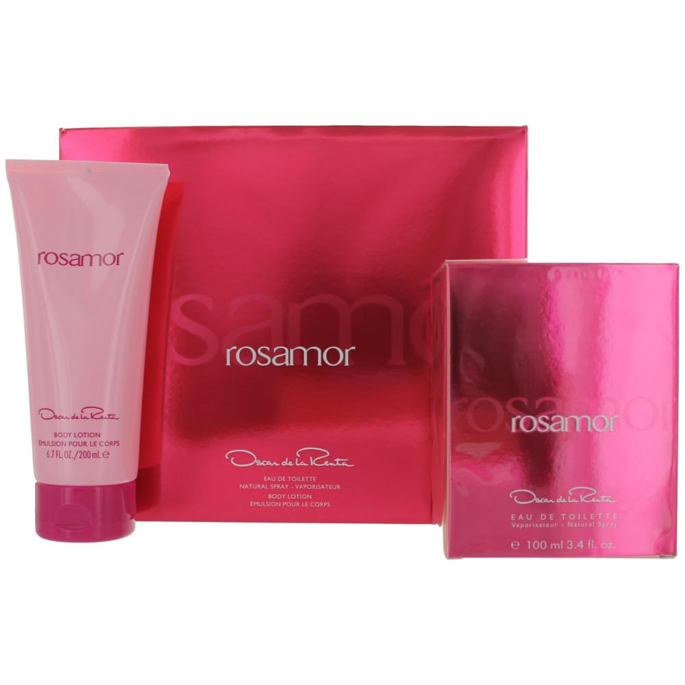 Rosamor by Oscar De La Renta, 2 Piece Gift Set for Women 3.4oz EDT Spray Body Lotion