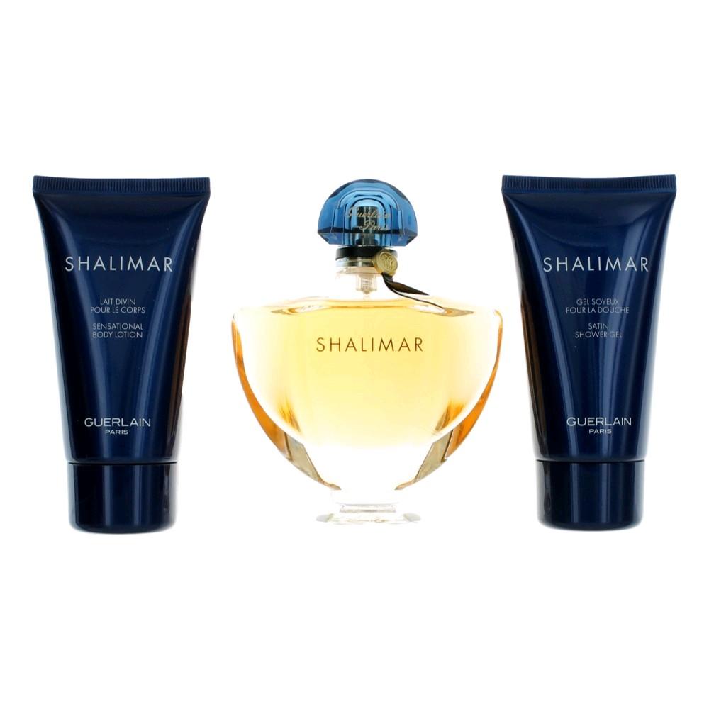 Shalimar by Guerlain, 3 Piece Gift Set for Women 3oz EDT Spray Body Lotion Shower Gel