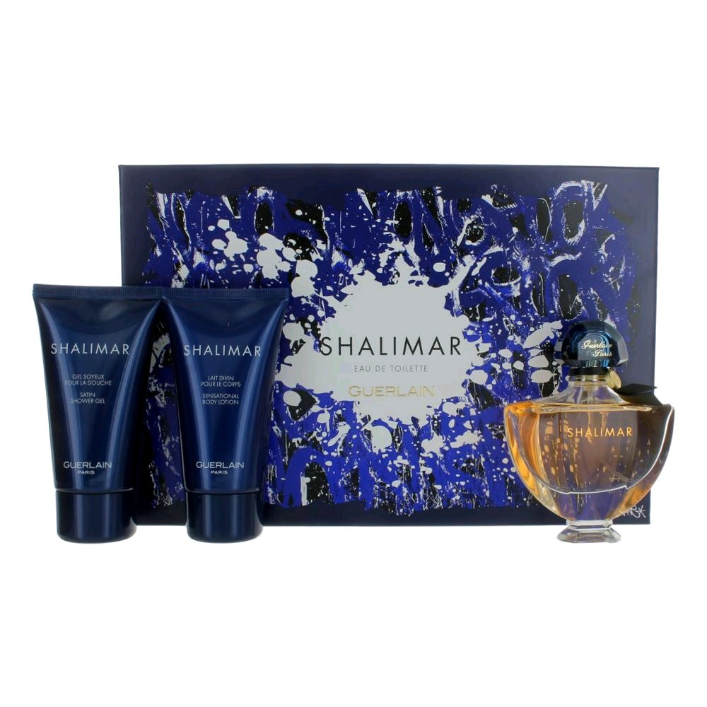 Shalimar by Guerlain, 3 Piece Gift Set for Women 1.6oz EDT Spray Body Lotion Shower Gel