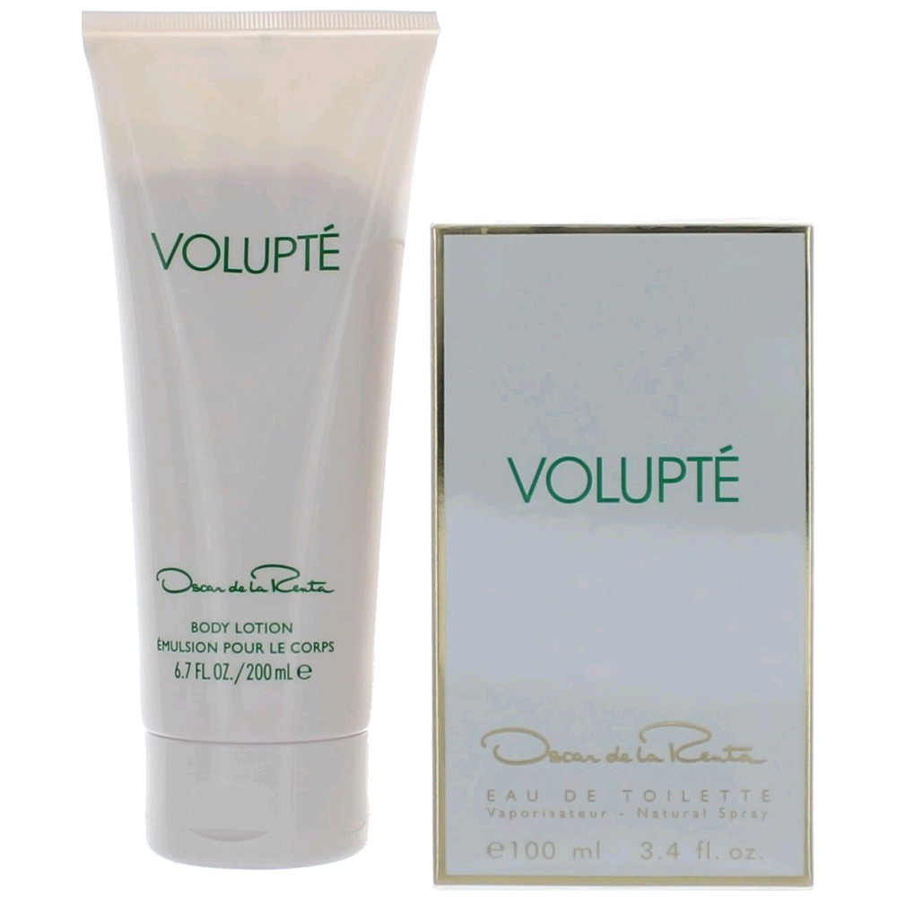Volupte by Oscar De La Renta, 2 Piece Gift Set for Women 3.4oz EDT Spray Body Lotion
