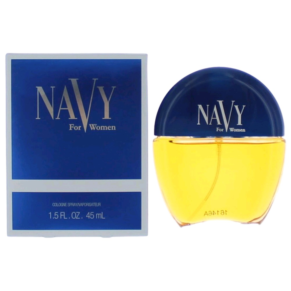 The house of Coty introduced Navy in 1990; it blends citrus, cinnamon, coriander and flowers. Its suggested for romantic use due to its luxurious fragrance.