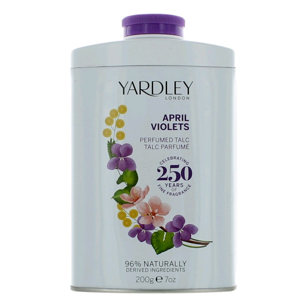 Light, delicate and gently fragranced with April Violets; this talc will leave your skin soft, smooth and refreshed after bathing or showering. A clean fresh, green and sensual floral fragrance with top notes of violet leaves and citrus fruits combined with a gorgeous heart of orris, mimosa, rose and white peach, enhanced with sandalwood, vanilla and powdery notes in the base.