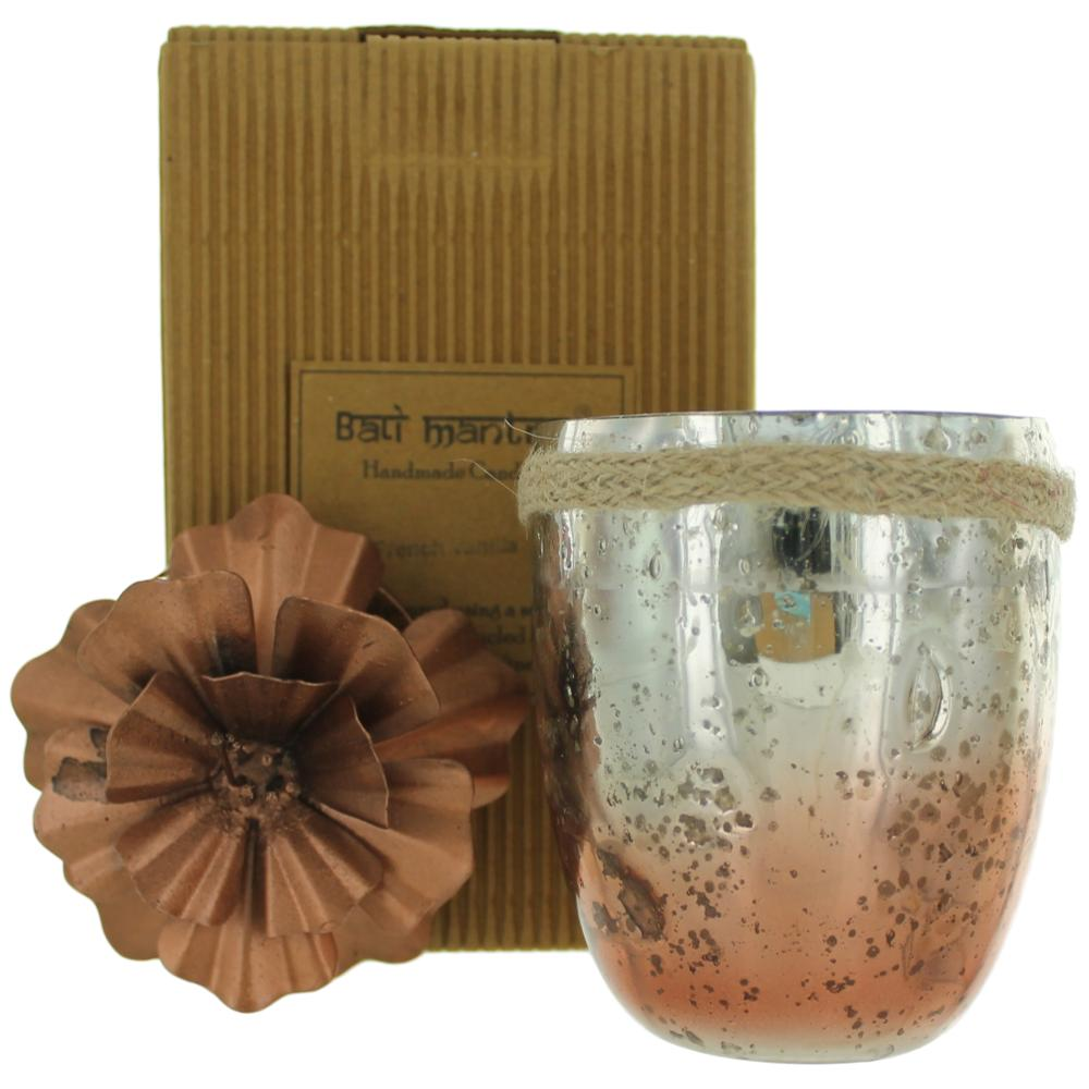 Bali Mantra Handmade Scented Candle In Hibiscus Glass Copper - French Vanilla