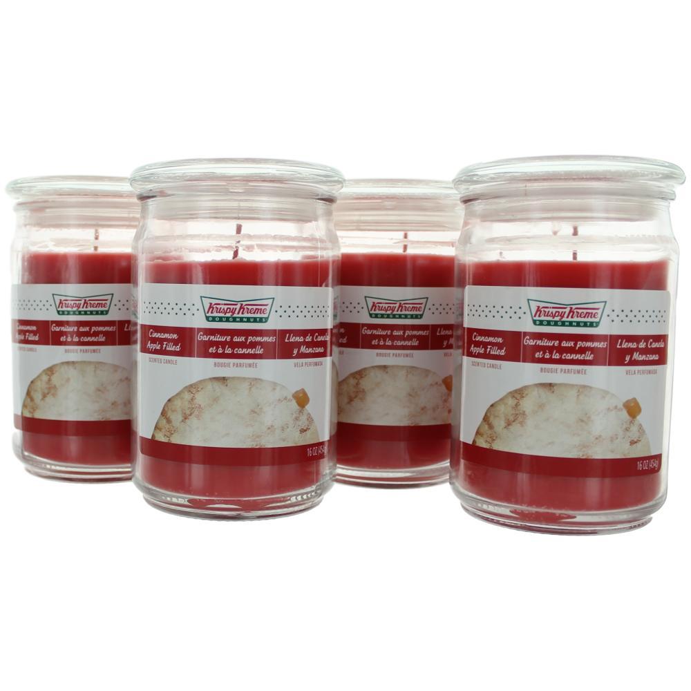 Krispy Kreme Scented Candle 4 Pack of 16 oz Jars - Cinnamon Apple Filled
