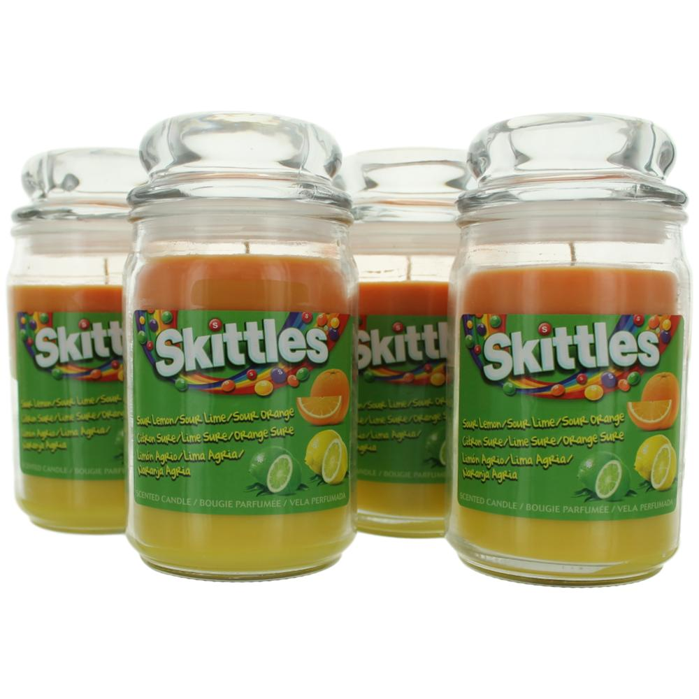 Skittles Scented Candle 4 Pack of 16 oz Triple Pour Jars - Sour Lemon/Lime/Orange cskit16llo4p